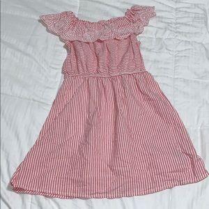 GAP Dresses - GAP OFF THE SHOULDER EYELET PINSTRIPE DRESS
